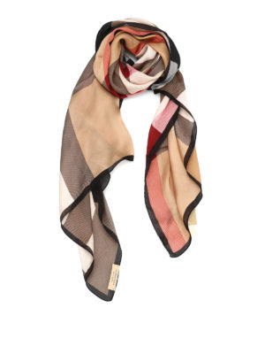 Burberry: scarves - Check silk scarf