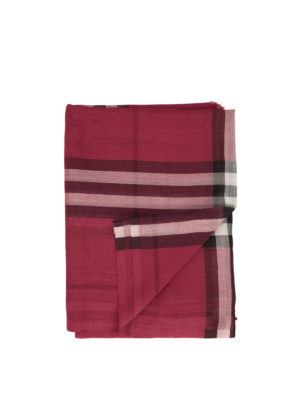 Burberry: scarves - Check wool and silk scarf