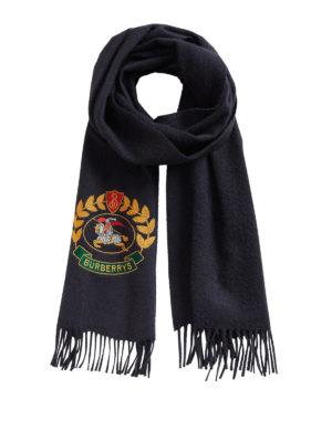 BURBERRY: sciarpe e foulard - Sciarpa in cashmere con stemma