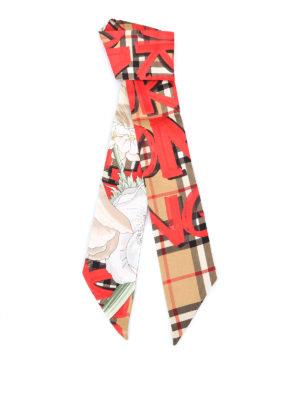 BURBERRY: sciarpe e foulard - Sciarpa sottile in seta tartan con fiori