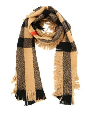 Burberry: scarves - Fringed tartan wool scarf