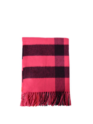 Burberry: scarves - Fuchsia tartan cashmere Bandana