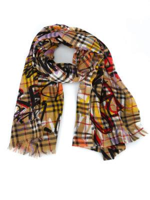 BURBERRY: sciarpe e foulard - Sciarpa in garza di lana seta Vintage Check