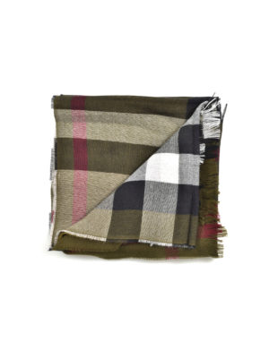 Burberry: scarves - Light cashmere and wool check scarf