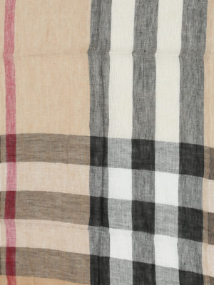 Burberry: scarves online - Check linen scarf
