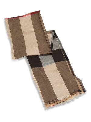 Burberry: scarves online - Check Modal Cashmere and Silk Scarf