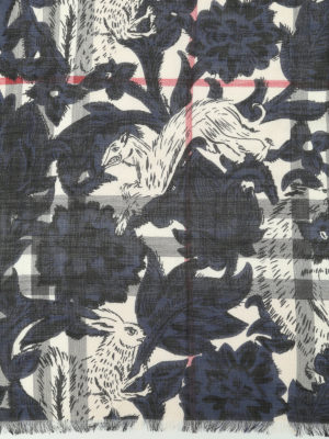 Burberry: scarves online - Floral Beasts Giant Check scarf