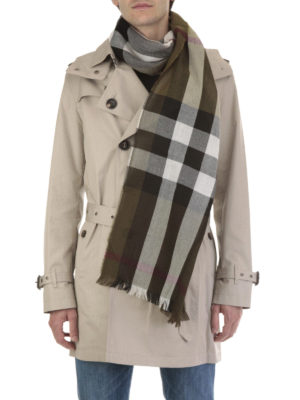 Burberry: scarves online - Light cashmere and wool check scarf