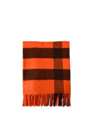 Burberry: scarves - Orange tartan cashmere Bandana