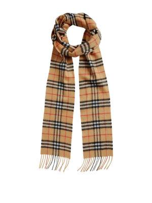 BURBERRY: sciarpe e foulard - Sciarpa lunga in cashmere Check