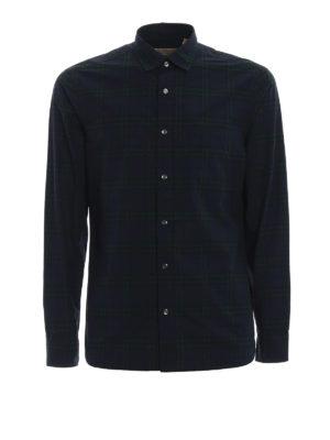 BURBERRY: camicie - Camicia blu Alexander a quadri