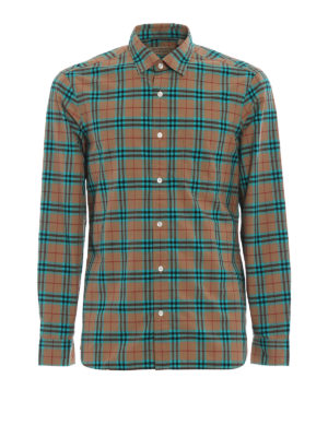 Burberry: shirts - Alexander green Check cotton shirt