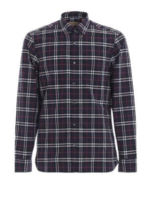 BURBERRY: camicie - Camicia Alexander in cotone scozzese blu