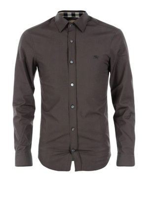 Burberry: shirts - Cambridge check detail grey shirt