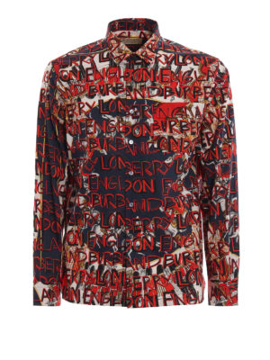 BURBERRY: camicie - Camicia Casson con stampa London graffiti
