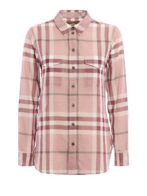 Burberry: shirts - Check cotton gauze shirt