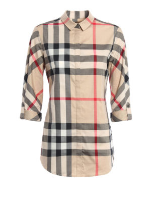 Burberry: shirts - Check cotton slim fit shirt