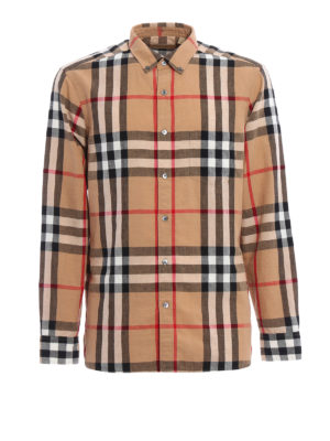 Burberry: shirts - Check linen and cotton blend shirt