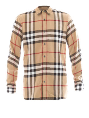Burberry: shirts - Chequered cotton flannel shirt