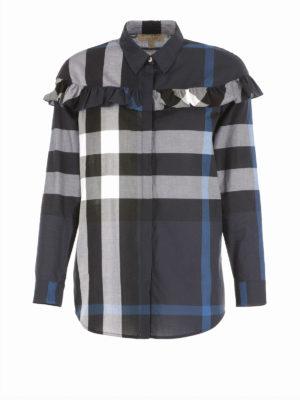 Burberry: shirts - Frilled cotton shirt