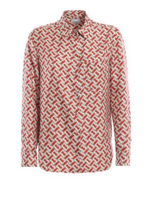 BURBERRY: shirts - Godwit monogram print silk shirt