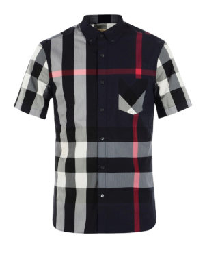 Burberry: shirts - House Check navy short sleeve shirt