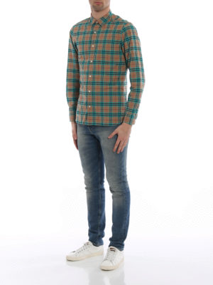Burberry: shirts online - Alexander green Check cotton shirt