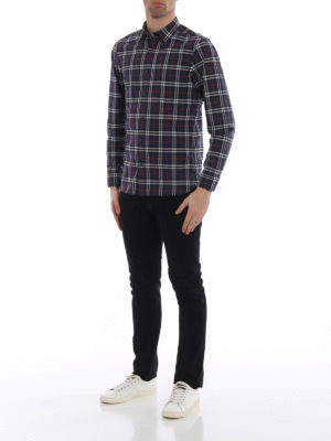 Burberry: shirts online - Alexander navy Check cotton shirt