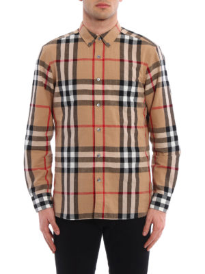 Burberry: shirts online - Check linen and cotton blend shirt