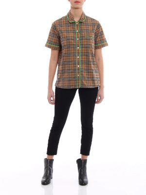 Burberry: shirts online - Fluo piping short sleeve shirt