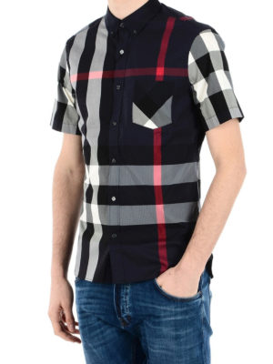 Burberry: shirts online - House Check navy short sleeve shirt