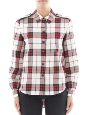 Burberry: shirts online - Red cotton check flannel shirt