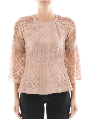 Burberry: shirts online - See-through lace crew neck blouse