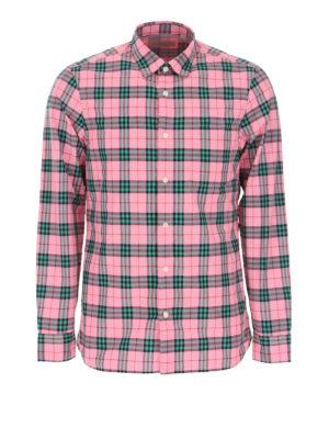 BURBERRY: camicie - Camicia cotone check rosa e verde