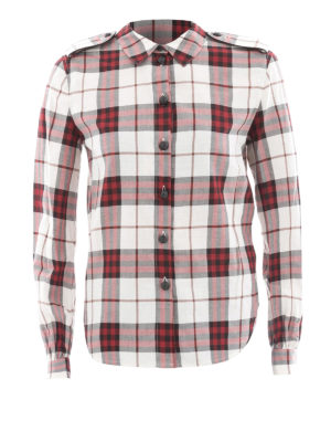 Burberry: shirts - Red cotton check flannel shirt