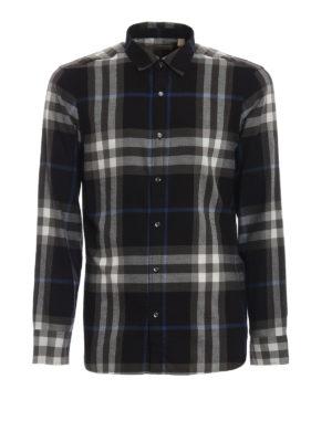 BURBERRY: camicie - Camicia Salwick nera a quadri