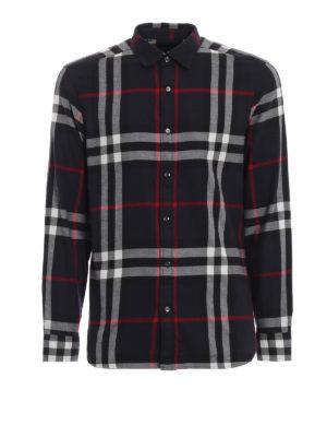 BURBERRY: camicie - Camicia Salwick blu scuro a quadri