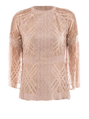 Burberry: shirts - See-through lace crew neck blouse