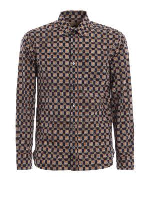 BURBERRY: camicie - Camicia Strental blu con motivo check