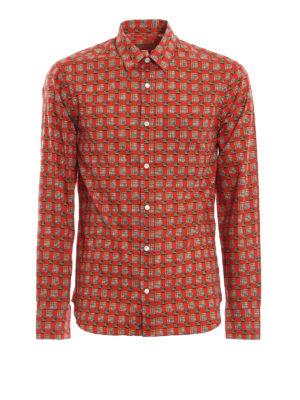 BURBERRY: camicie - Camicia Strental rossa con motivo check