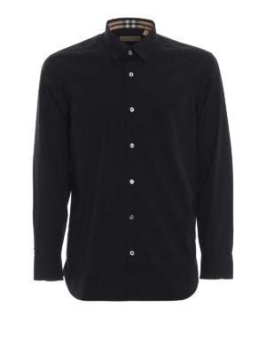BURBERRY: camicie - Camicia nera William in popeline