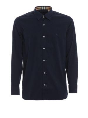 BURBERRY: camicie - Camicia William in popeline blu scuro