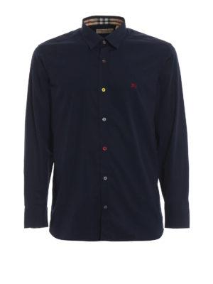 BURBERRY: camicie - Camicia blu William con bottoni fantasia