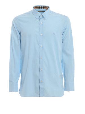 BURBERRY: camicie - Camicia William in popeline azzurro