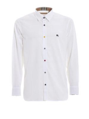 BURBERRY: camicie - Camicia bianca William con bottoni fantasia