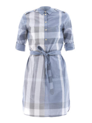 Burberry: short dresses - Check cotton tie-waist shirt dress