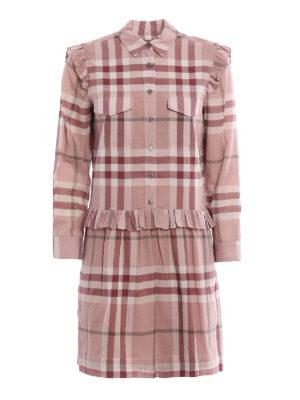 Burberry: short dresses - Isaline cotton Check shirt dress