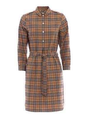 Burberry: short dresses - Kelsynt tartan print shirt dress
