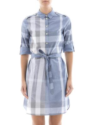 Burberry: short dresses online - Check cotton tie-waist shirt dress
