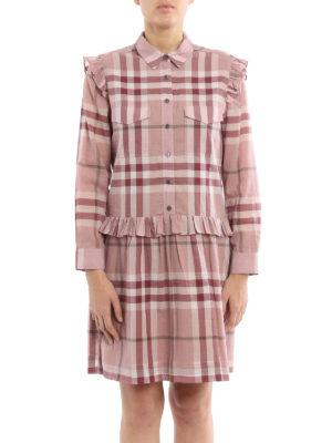 Burberry: short dresses online - Isaline cotton Check shirt dress